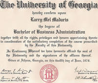 University of Georgia Business Degree - Click to view larger image