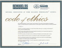 National Association of Home Builders Code of Ethics - Click to view larger image
