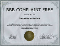 Better Business Bureau of Chattanooga - Complaint Free Certificate - Click to view larger image