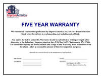 Improveamerica inc credentials for Workmanship guarantee template